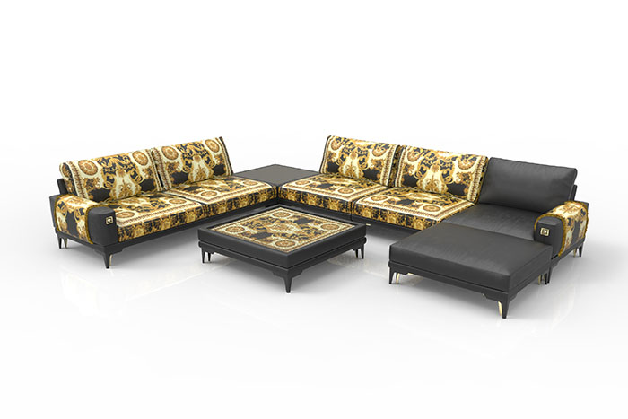 The Versace Tribute 1 Sofa In Velvet Print And Leather Sofas Gives A Rock N Roll Edge To Sectional When Paired With Contrasting Black